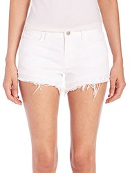 J Brand Sachi Distressed Cut Off Denim Shorts White