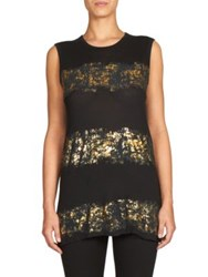 Haider Ackermann Montivipera Metallic Stripe Muscle Tee Black Gold