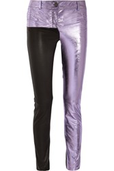 Haider Ackermann Metallic And Matte Leather Skinny Pants Lilac