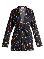Christopher Kane Pansy Print Satin Jacket Black Multi