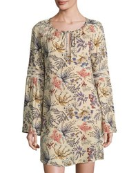 Wayf Botanical Raglan Sleeve Shift Dress Beige