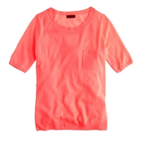 J.Crew Collection Featherweight Cashmere Pocket Tee Neon Peach