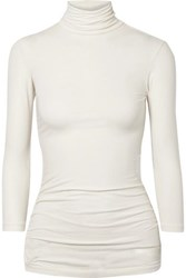 James Perse Ruched Stretch Cotton Jersey Turtleneck Top Ivory