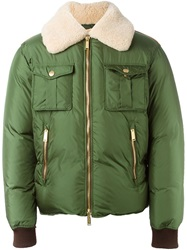 Dsquared2 Lamb Fur Collar Bomber Jacket Green