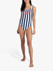 Speedo Ice Cream Stripe Swimsuit Navy White