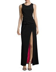 Betsy And Adam Solid Open Back Gown Blackberry