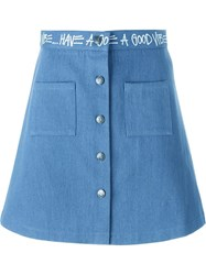 Stussy Button Down A Line Skirt Blue