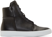 Helmut Lang Black Leather High Top Sneakers