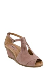 Earthr Women's Earth 'Caper' T Strap Wedge Sandal Dusty Rose Suede