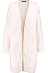 Dkny Cable Knit Wool Blend Cardigan Cream