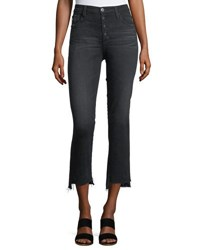 Ag Adriano Goldschmied Isabelle High Rise Straight Leg Cropped Jeans Black