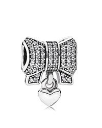 Pandora Design Pandora Charm Sterling Silver Cubic Zirconia And Enamel Heart And Bow Moments Collection