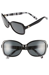Women's Kate Spade New York 'Ayleen' 56Mm Polarized Sunglasses Black White Pattern