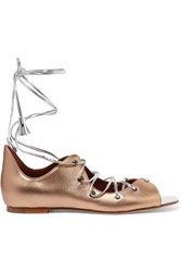 Malone Souliers Savannah Lace Up Metallic Leather Sandals Gold