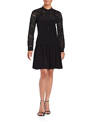Rebecca Taylor Embroidered Paisley Lace Dress Black