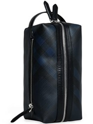 Burberry London Check And Leather Pouch Blue