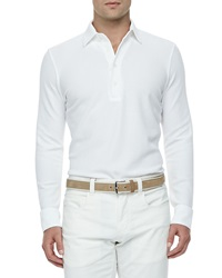 Loro Piana Huck Lace Cotton Long Sleeve Polo White