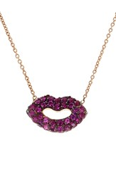 Kismet By Milka 'Mini' Encrusted Lips Pendant Necklace Rose Gold Ruby
