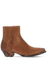 Saint Laurent 40Mm Lukas Fringed Suede Boots Brown
