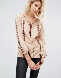Gat Rimon Analis Boho Embroidered Blouse Rose Pink