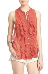Women's Free People 'Higher Ground' Sleeveless Chiffon Blouse Canyon Rose