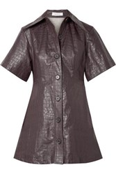 Beaufille Piper Croc Effect Coated Linen Mini Dress Plum