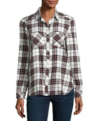 Soft Joie Lilya Plaid Flannel Shirt White Red White Pattern