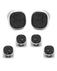 Cufflinks Inc. Black Preciosa Pave Cuff Links And Stud Set