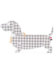 Thom Browne Checked Dog Clutch Women Leather One Size Grey