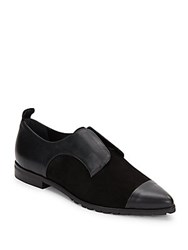 Alice Olivia Gia Suede And Leather Point Toe Slip On Oxfords Black