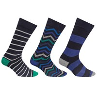 John Lewis Zig Zag Stripe Socks Pack Of 3 Multi