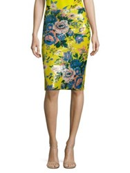 Diane Von Furstenberg Sequined Floral Print Pencil Skirt Yellow