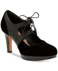 Clarks Delsie Glee Mary Jane Pumps Women's Shoes Black Leather