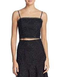 Lucy Paris Maria Embroidered Cropped Top Black
