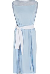 Vionnet Paneled Silk Crepe De Chine And Organza Dress Blue