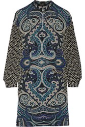 Etro Printed Wool Crepe Dress Blue