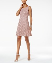 Connected Sequined Lace A Line Dress Dusty Nude