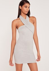 Missguided Carli Bybel Faux Suede Wrap Neck Bodycon Dress Grey Grey