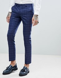 Noose And Monkey Super Skinny Wedding Suit Pants In Fleck Check Navy