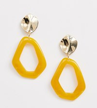 Monki Abstract Drop Earrings In Yellow And Gold