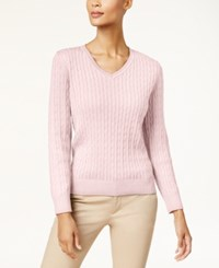 Karen Scott Cotton V Neck Cable Knit Sweater Created For Macy's Blush