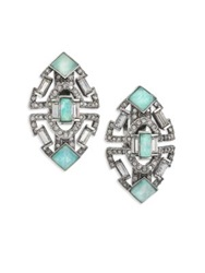 Alexis Bittar Coral Deco Amazonite And Crystal Stepped Clip On Earrings Silver Aqua