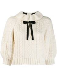 Red Valentino Bow Embellished Cable Knit Jumper White