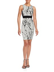 Saks Fifth Avenue Red Printed Sleeveless Sheath Dress White Black