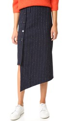 Acne Studios Pate Pinstripe Skirt Navy White Stripe