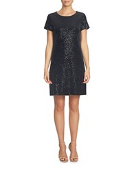 Cece Short Sleeve Sequin Velvet Shift Dress Black