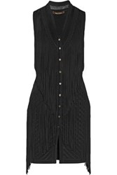 Roberto Cavalli Fringed Paneled Pointelle And Stretch Knit Vest Black