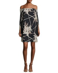 Halston Long Sleeve Off The Shoulder Printed Dress Multi Multi Pattern