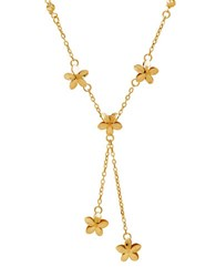 Lord And Taylor 14K Italian Gold Flower Lariat Necklace Yellow Gold