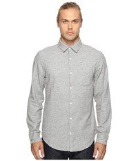 Original Penguin Long Sleeve Brushed Oxford Woven Shirt Rain Heather Men's Long Sleeve Button Up Gray